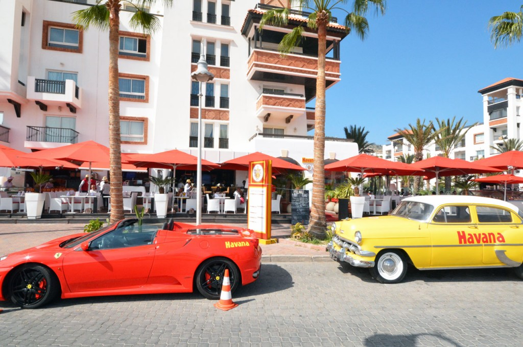 Havana Restaurant at the Agadir Marina with the owners red Ferrari on display