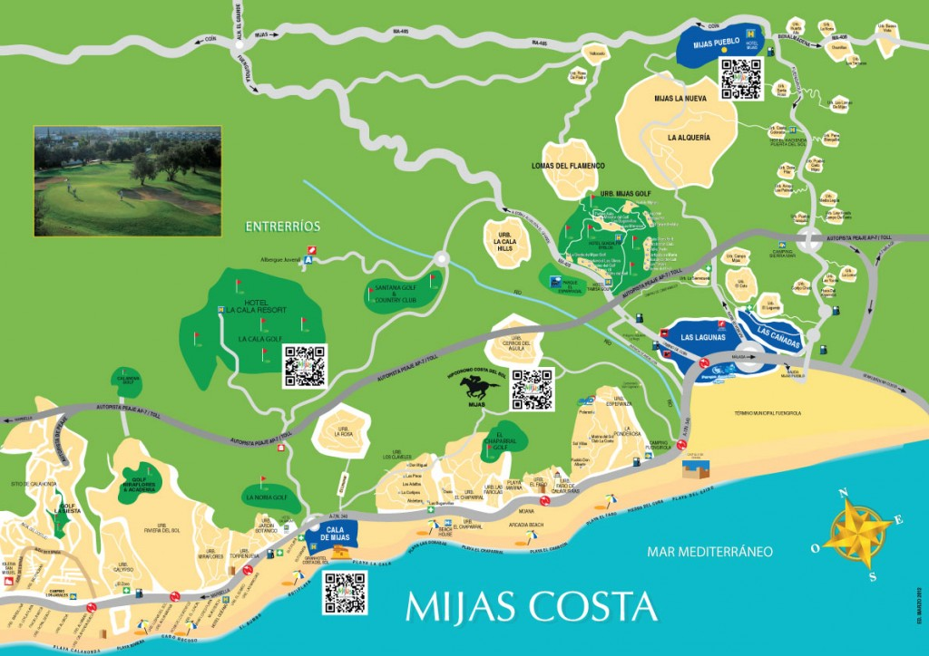 Mijas Costa map showing detailed information on urbanisations, beaches, golf courses and more