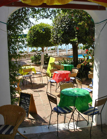 Oscars Tapas Bar terrace which overlooks the Mediterranean Sea, a great place to enjoy tapas