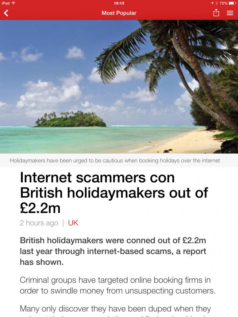 BBC website highlighting British holidaymakers are 2.2 million out of pocket due to internet scammers
