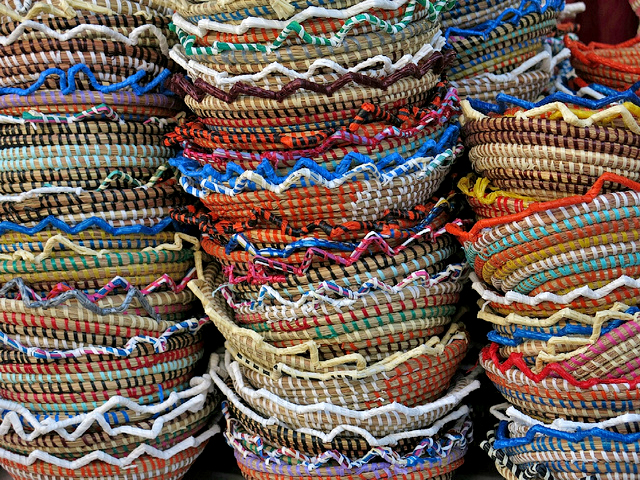 Colourful baskets on sale at the Marbella Monday market - photo by Steve Braund
