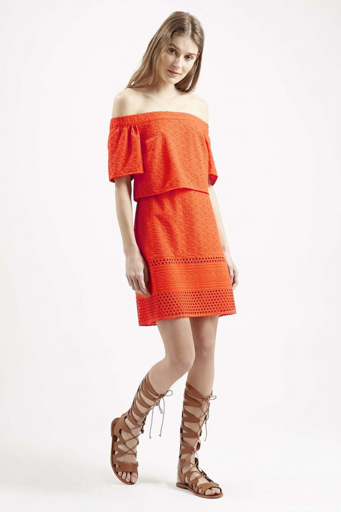 Topshop Embroidered Bardot Dress - £50