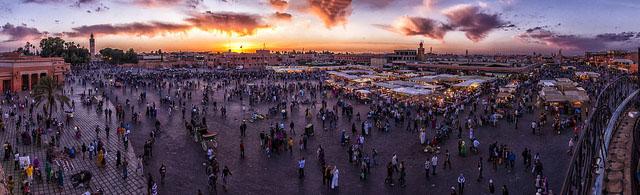 Sunset at Jemaa el Fnaa in Marrakech