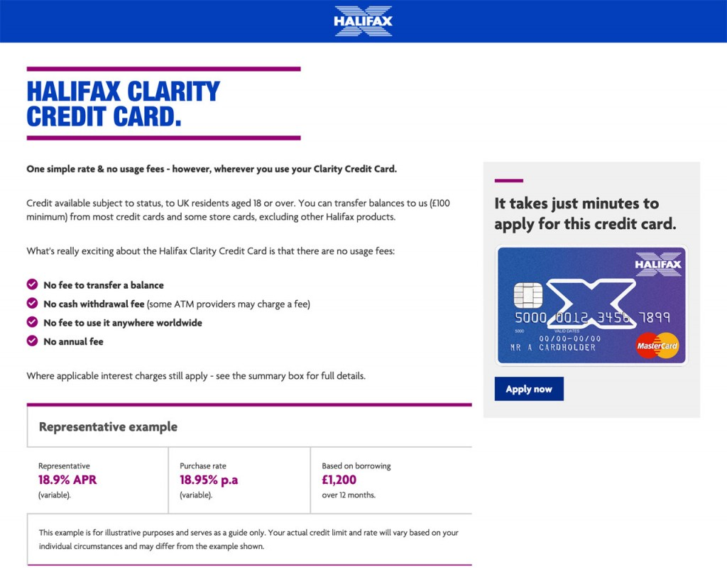 Halifax Clarity credit card website page
