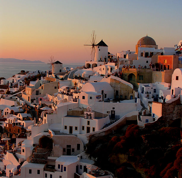View spectacular sunsets in Oia