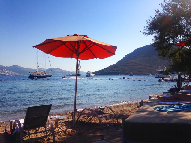 Xuma Beach Club in Yalikavak, showing the sea views from your sunlounger