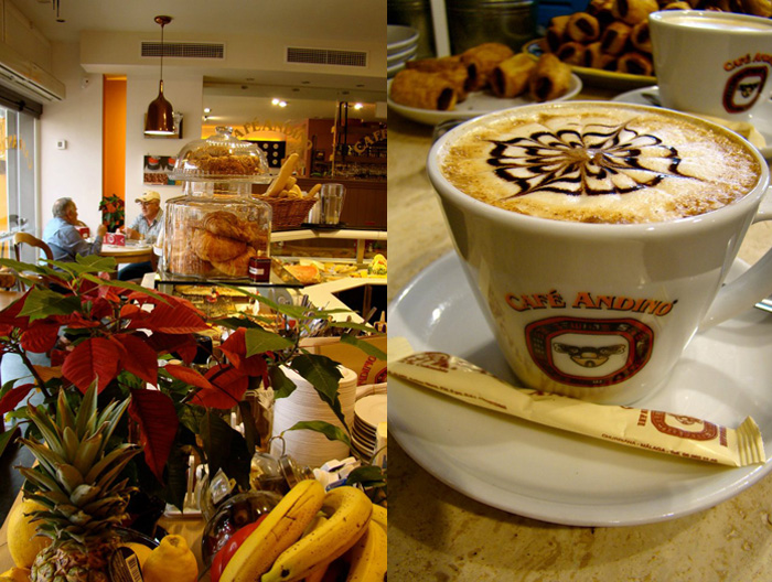 Inside Café Andino (left) and a cup of 100% natural Colombian coffee (right)