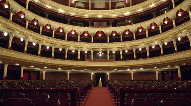 Teatro Cervantes de Malaga, inside photo showing the beautiful theatre